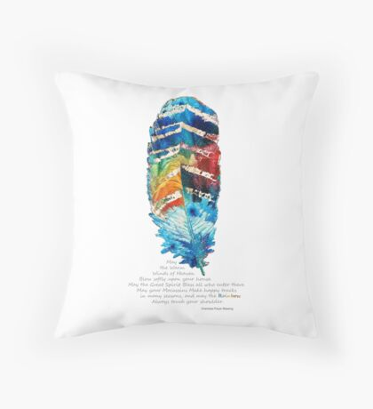 Colorful Feather Art - Cherokee Blessing - By Sharon Cummings Throw Pillow