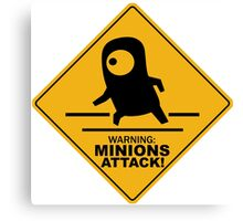Warning Minions Attack Despicable Me Film Funny Parody Canvas Print
