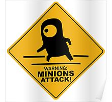 Warning Minions Attack Despicable Me Film Funny Parody Poster