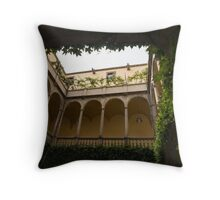 Courtyard - Green Mediterranean Serenity and Peace Throw Pillow