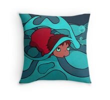 Ponyo - Hiding in a jellyfish! Throw Pillow