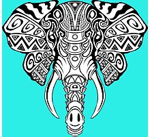 Mosaic Elephant: Black and White Photographic Print