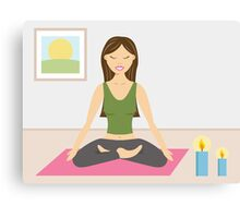 Cute Yoga Girl Doing Yoga In A Pretty Room Canvas Print