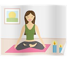 Cute Yoga Girl Doing Yoga In A Pretty Room Poster