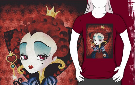 Queen of Hearts T-shirt (w/background) by sandygrafik