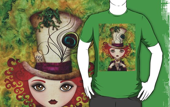Lady Hatter T-shirt (w/background) by sandygrafik