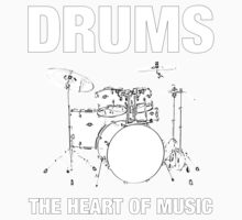 Drums The Heart Of Music decoration Kids Clothes