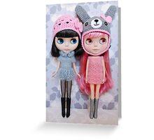 Pink and grey Greeting Card
