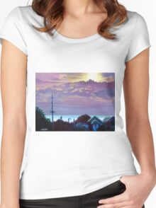 'Sunset over Pamlico Sound' Women's Fitted Scoop T-Shirt