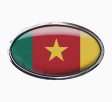 Cameroon Flag 3D Effect Glass Oval by ukedward