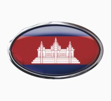 Cambodia Flag 3D Effect Glass Oval by ukedward