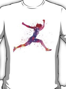 Woman runner running jumping shouting T-Shirt