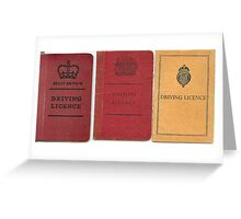 3x old style UK Driving licences Greeting Card