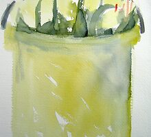 Yellow tulips in a yellow bucket by Catrin Stahl-Szarka
