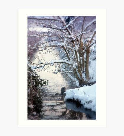Heron Winter Scene Art Print