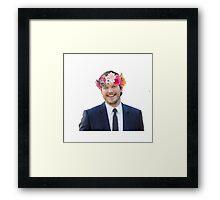 Chris Pratt with a flower crown Framed Print