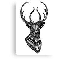 Deer stag black and white ornate illustration Canvas Print