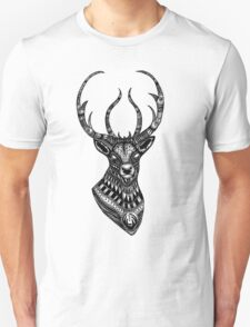 Deer stag black and white ornate illustration T-Shirt