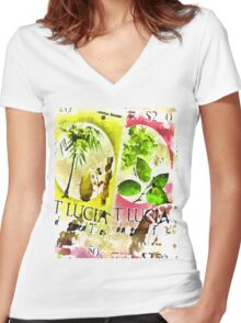 St Lucia Women's Fitted V-Neck T-Shirt