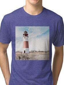 Sankaty Head Lighthouse on the island of Nantucket MA Tri-blend T-Shirt