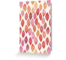 Watercolor Leaf Pattern in Autumn Colors Greeting Card