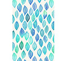 Watercolor Leaf Pattern in Blue & Turquoise Photographic Print