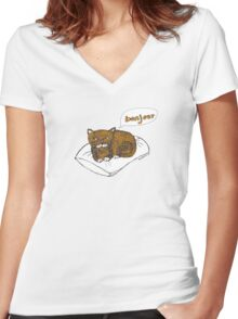 He's not really French... (he just thinks he is) Women's Fitted V-Neck T-Shirt