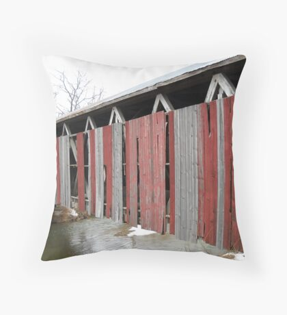 West Engle Mill Covered Bridge, Side View Throw Pillow