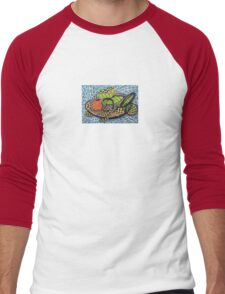 294 - ABSTRACT FISH DESIGN T-SHIRT - DAVE EDWARDS - INK AND COLOURED PENCILS - 2010 Men's Baseball ¾ T-Shirt