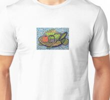 294 - ABSTRACT FISH DESIGN T-SHIRT - DAVE EDWARDS - INK AND COLOURED PENCILS - 2010 Unisex T-Shirt