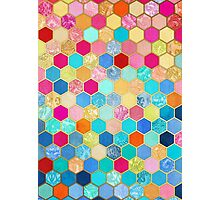 Patterned Honeycomb Patchwork in Jewel Colors Photographic Print