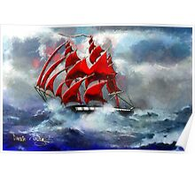 Clipper Ship Indian Queen in Rough Seas (2)  Poster