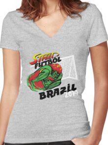 Street Futbol Brazil 2014 Women's Fitted V-Neck T-Shirt