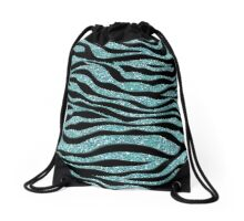 Aqua Zebra Sparkle Drawstring Bag