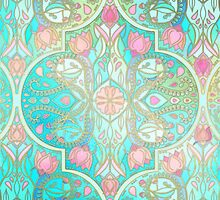 Floral Moroccan in Spring Pastels - Aqua, Pink, Mint & Peach by micklyn