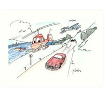 Funny car, airplane, boat and helicopter Art Print
