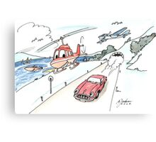 Funny car, airplane, boat and helicopter Canvas Print
