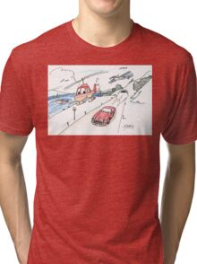 Funny car, airplane, boat and helicopter Tri-blend T-Shirt
