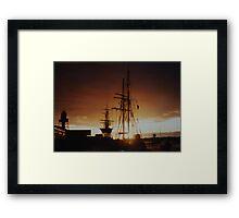 tall ship at sunset Framed Print
