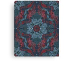Vintage Fancy - a Pattern in Deep Teal & Red Canvas Print