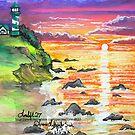 rocky beach sunrise by LoreLeft27
