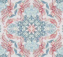 Vintage Fancy - a Pattern in Pale Blue, Navy & Deep Rose by micklyn