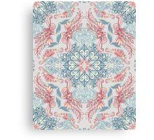 Vintage Fancy - a Pattern in Pale Blue, Navy & Deep Rose Canvas Print