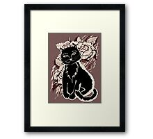 Black cat on texture paper. Card  in the vintage style Framed Print