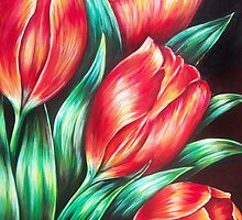 Tulips Red by Ira Mitchell-Kirk