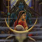 Shiva Parvati. Night in Himalayas by Vrindavan Das