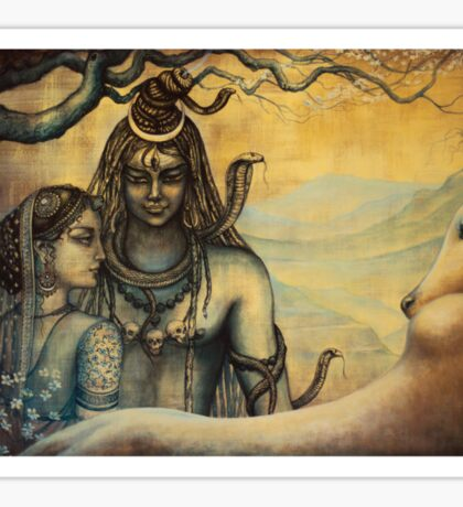 Shiva and Parvati. Spring in Himalayas Sticker