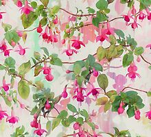 Rainbow Fuchsia Floral Pattern by micklyn