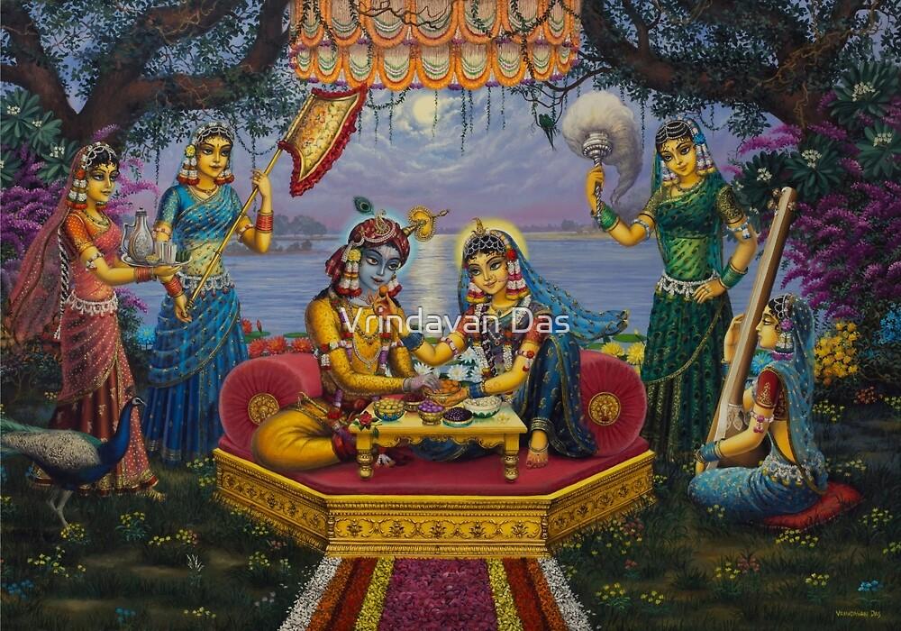 Radha Krishna. Bhojan lila by Vrindavan Das