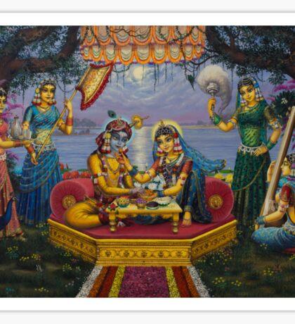 Radha Krishna. Bhojan lila Sticker